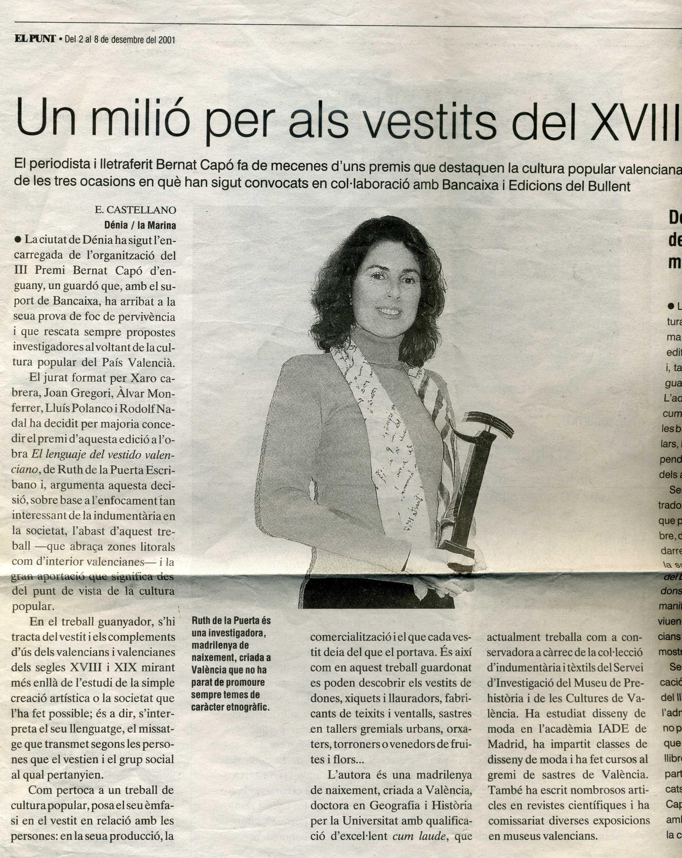 La prensa con el premio de Ruth
