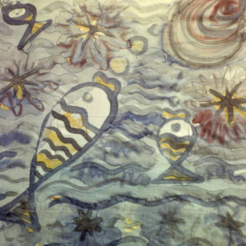 """Pañuelo """"Peces y estrellas"""". Pongé 90 x 90 cm"""