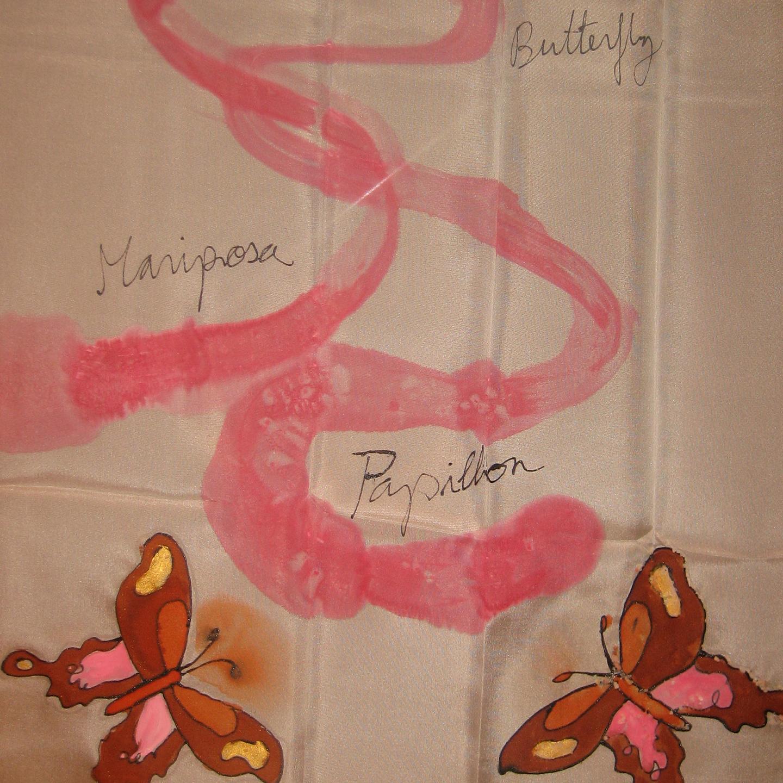 "Fular ""Mariposas rosas"" crepe satén 180 x 45 cm"