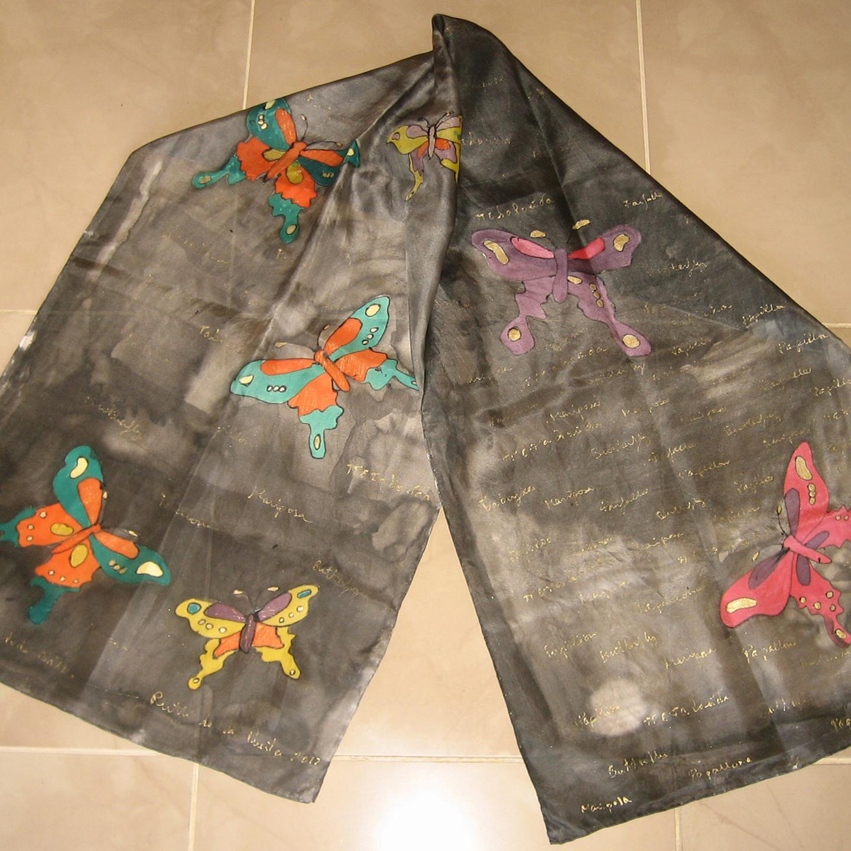 "Fular ""Mariposas fondo negro Eva"", pongé 180 x 45 cm"