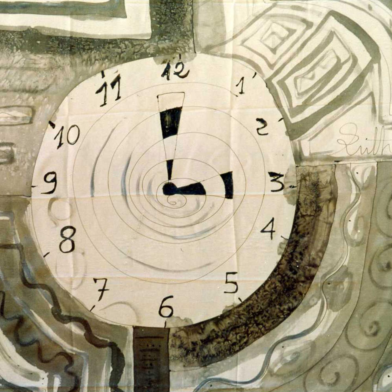 "Pañuelo ""El reloj del tiempo"" pongé 90 x 90 cm"