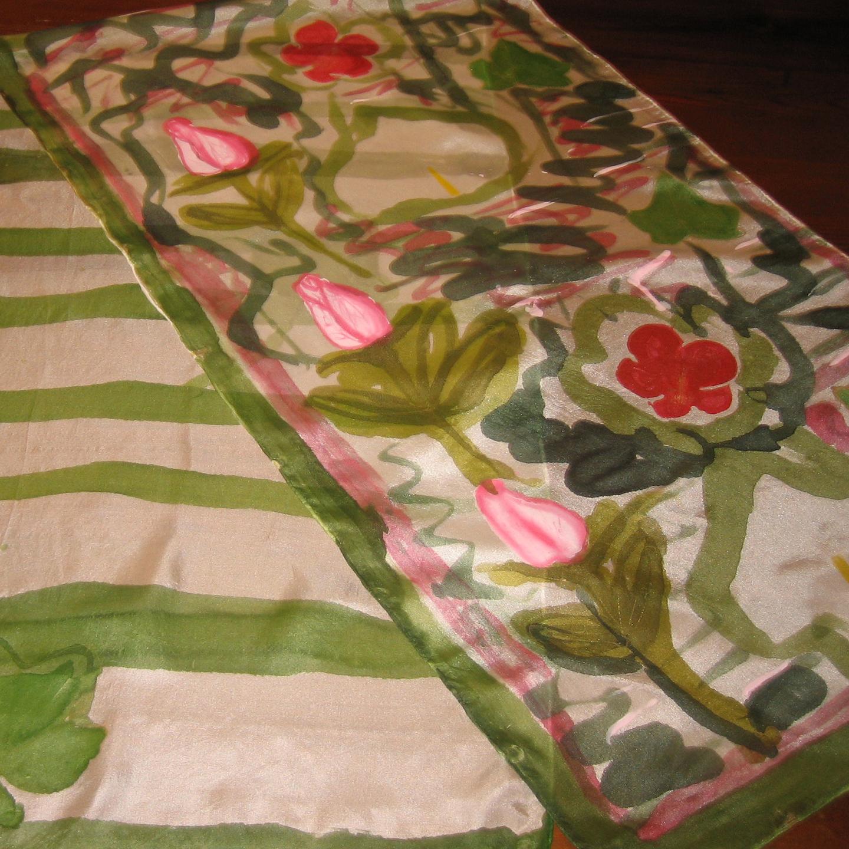 """Fular """"Rosas en flor y en capullo"""", pongé 180 x 45 cm"""