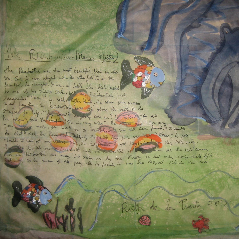 """Pañuelo """"The rainbowfish 2"""" pongé 90 x 90 cm"""
