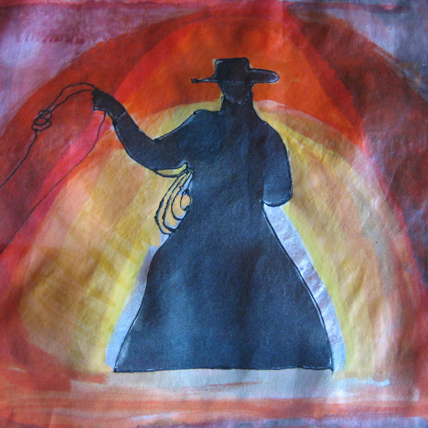 """Detalle del fular Jinete a caballo"""" Crepe satén 90 x 90 cm"""