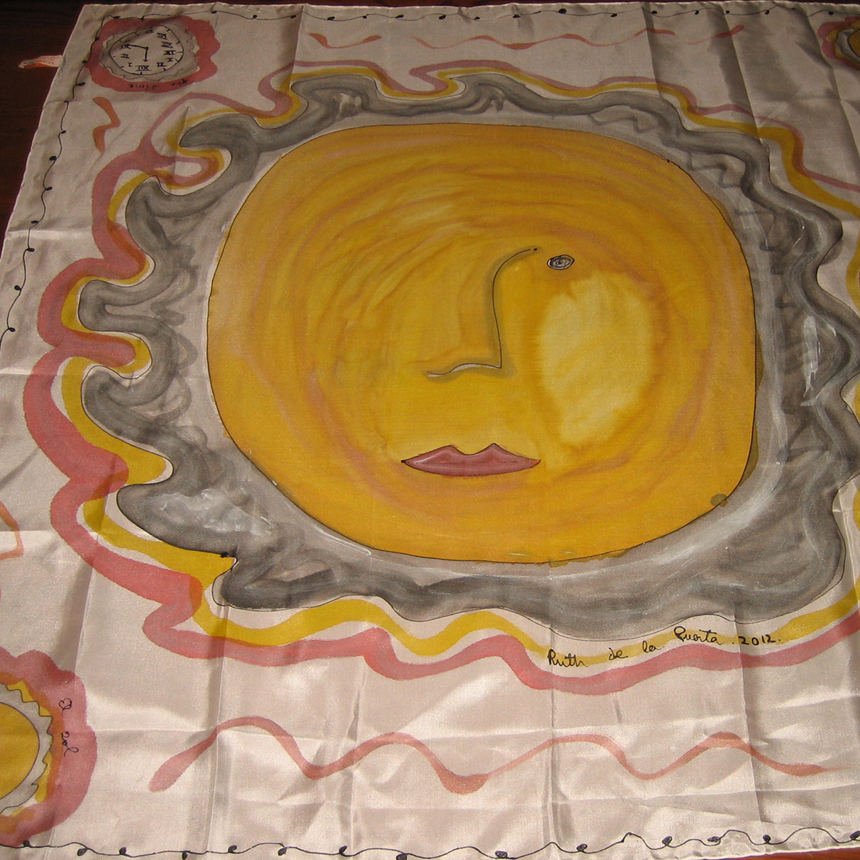 "Pañuelo ""Rostro del Sol"" pongé 90 x 90 cm"