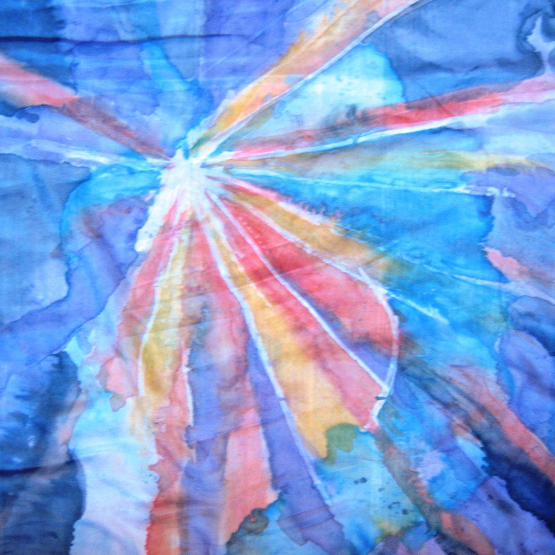 """Pañuelo """"Explosión de una estrella"""" crepe satén 90 x 90 cm"""