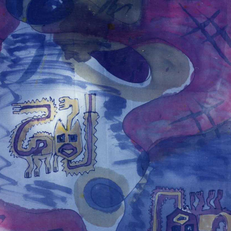 "Fular ""Gato azteca"" pongé 180 x 45 cm"