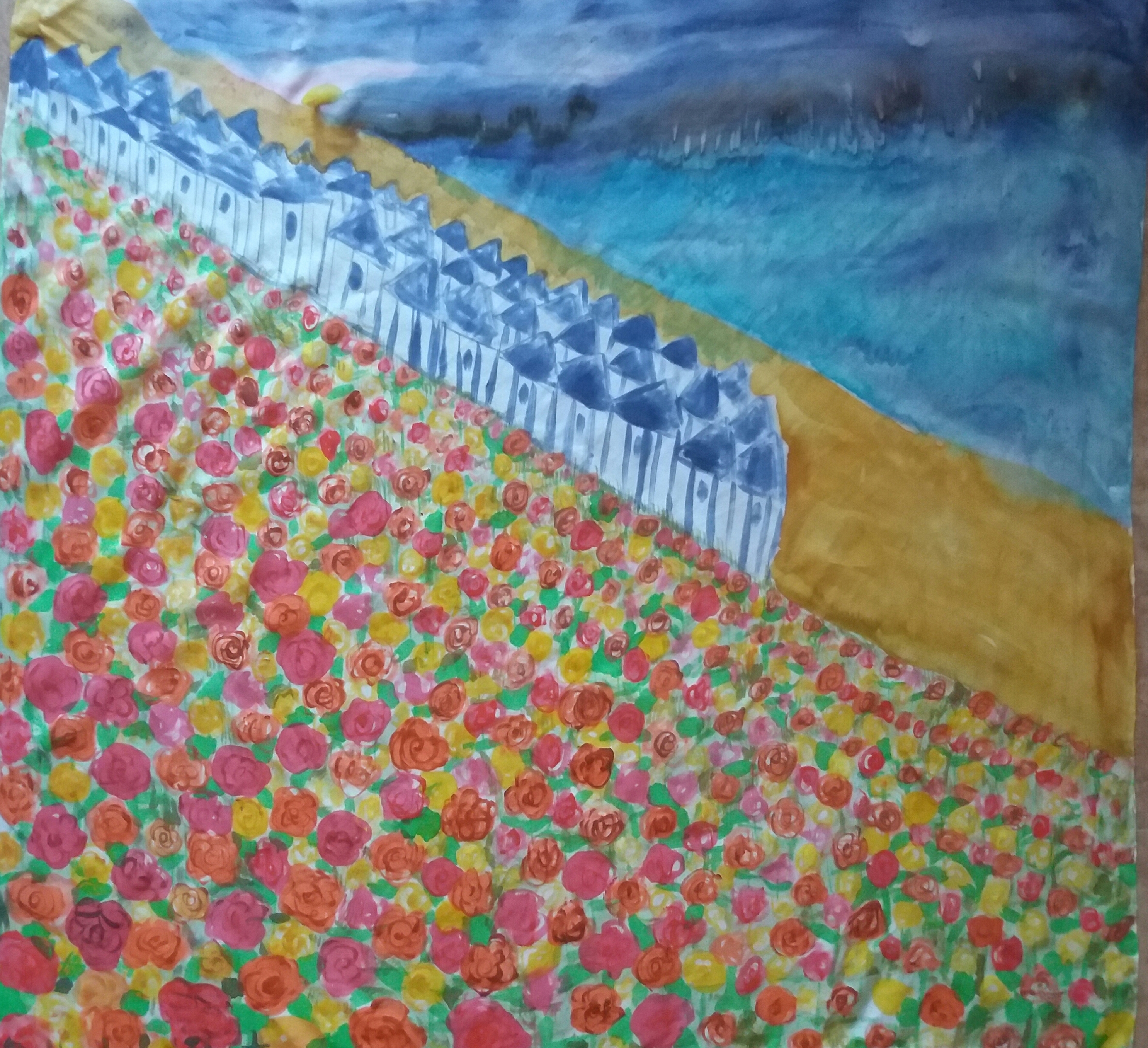 "Pañuelo ""Campo de tulipanes junto al mar"" , crepe satén 90 x 90 cm"