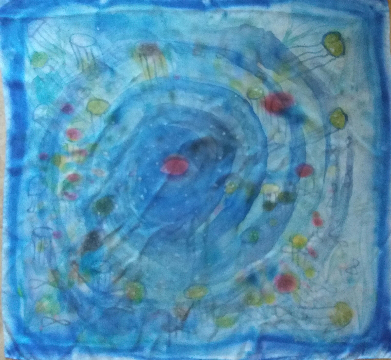 """Pañuelo """"Armonía del mar con el Universo"""", crepe satén 90 x 90 cm"""