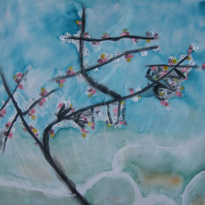 """Pañuelo """"Almendro en flor"""" crepe saten 90 x 90 cm"""