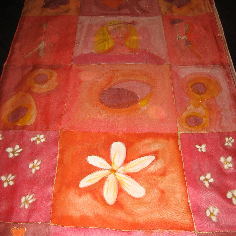 """Fular """"Cuadros y flores salmón"""", crepe satén 180 x 45 cm"""