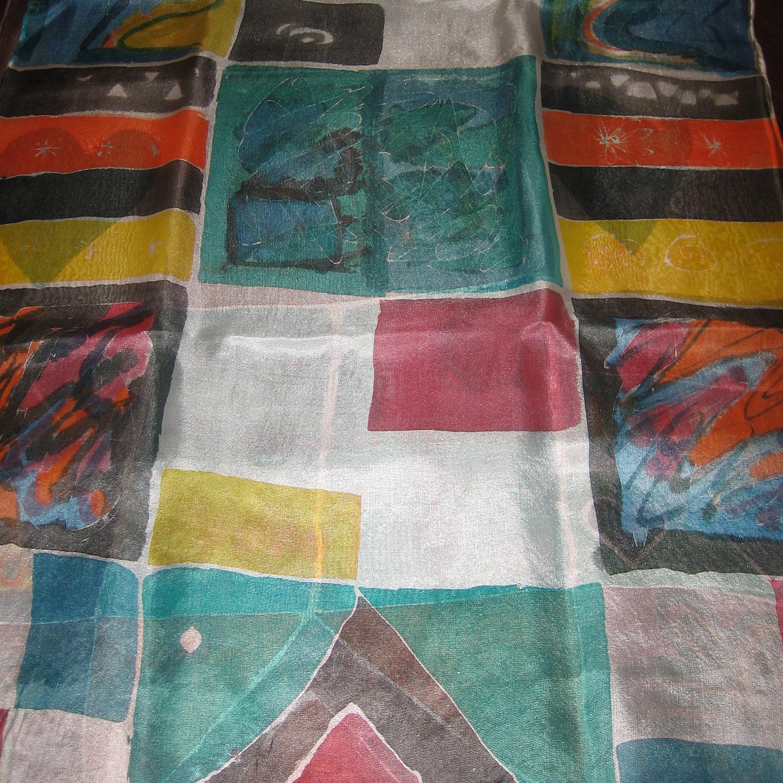 "Fular ""Cuadros de colores"", crepe satén 180 x 45 cm"