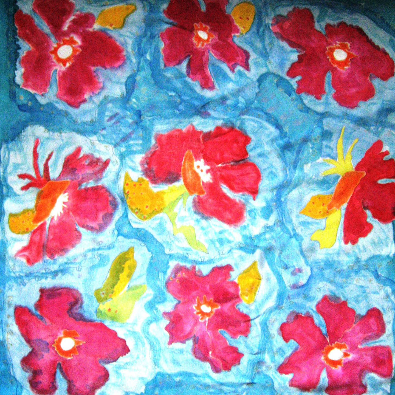 """Pañuelo """"Flores Jose"""" crepe satén 90 x 90 cm"""