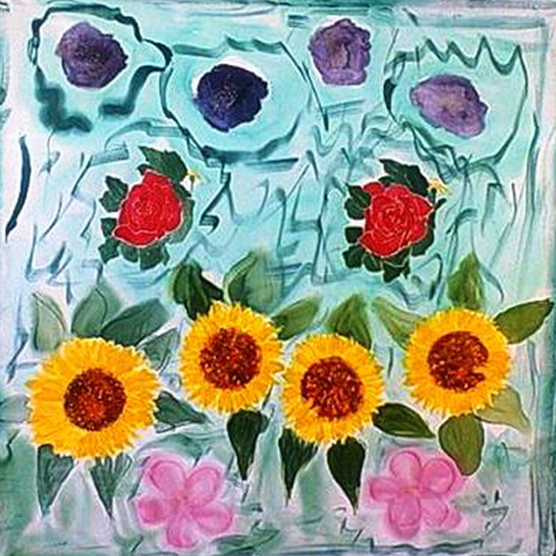 "Pañuelo ""Girasoles y rosas"" crepe satén 90 x 90 cm"