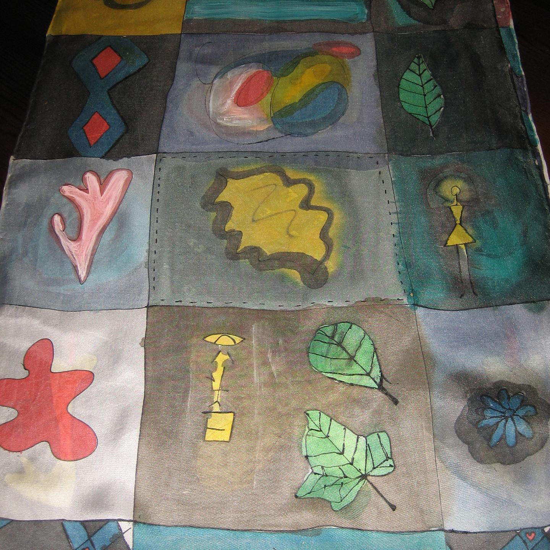 """Fular """"Cuadros con hojas y flores"""", crepe satén, 180 x 45 cm"""