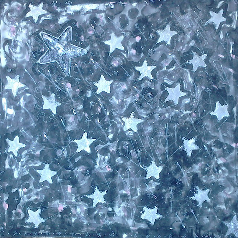"""Pañuelo """"Estrellas plateadas sobre fondo negro"""", crepe satén, 45 x 45 cm"""