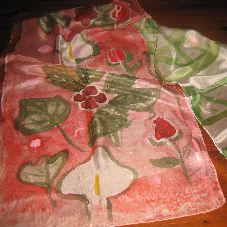 "Fular ""Calas y rosas"", pongé 180 x 45 cm"