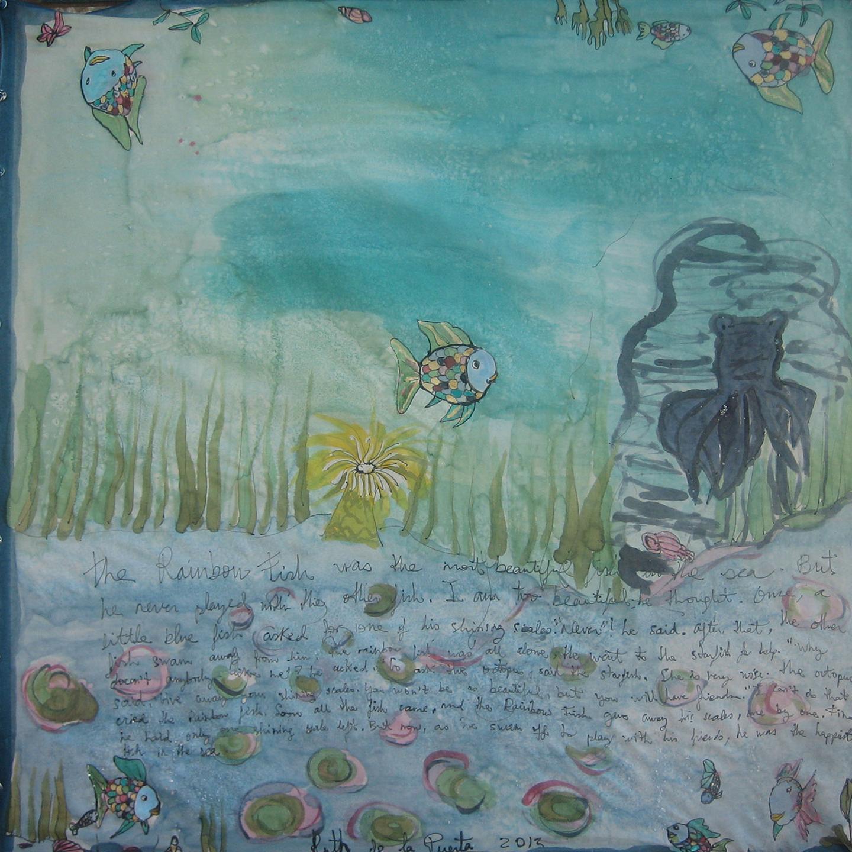 """5Pañuelo """"The rainbow fish Inés"""" pongé 90 x 90 cm"""
