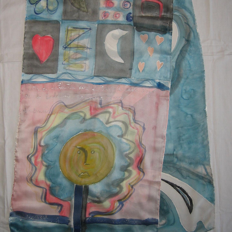 """Fular """"Cuadros colores"""", pongé 180 x 45 cm"""