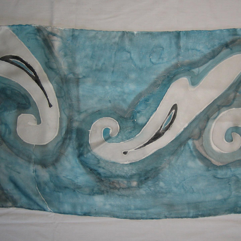 """Detalle del fular""""El mar Mediterráneo"""", crepe atén 180 x 45 cm"""