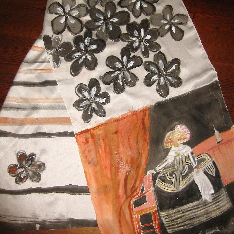 """Fular """"Menina"""", crepe satén 180 x 45 cm"""