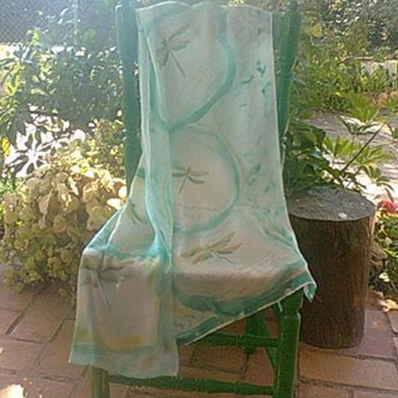"Fular ""Libélula verde"" crepe satén 180 x 45 cm"