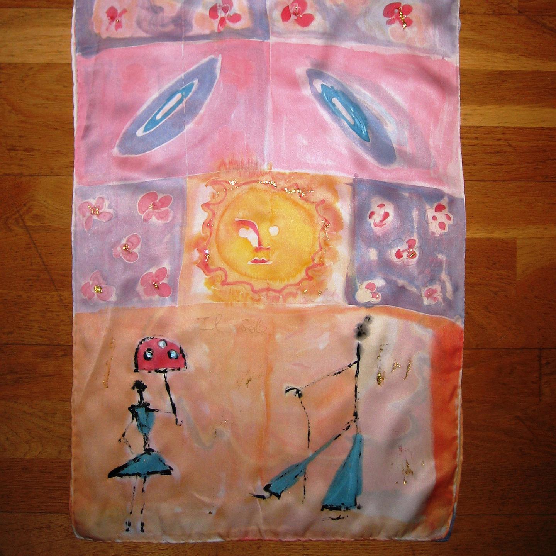 """Fular """"El Sol Marta"""", crepe satén 180 x 45 cm"""