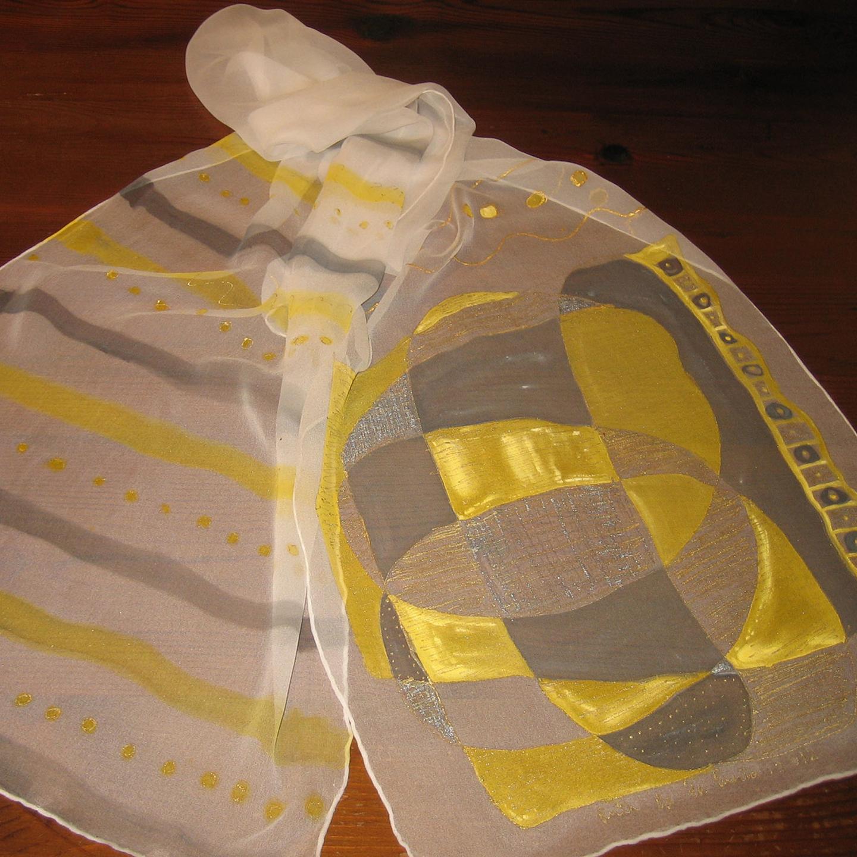 """Fular """"Abstracción amarillo y gris"""", gasa de seda natural 180 x 45 cm"""