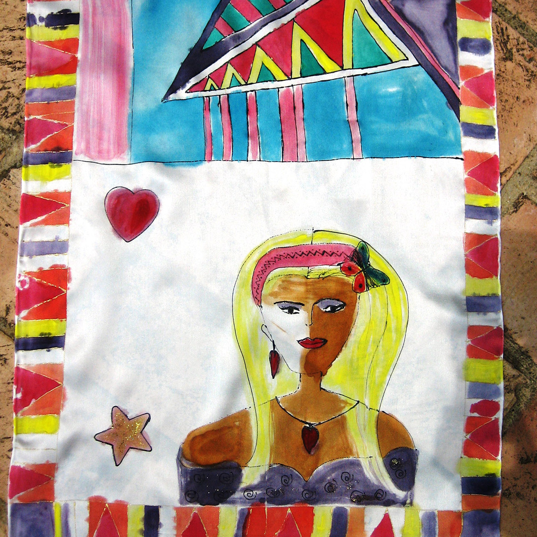 "Detalle del fular ""La joven enamorada"", crepe satén 180 x 45 cm"
