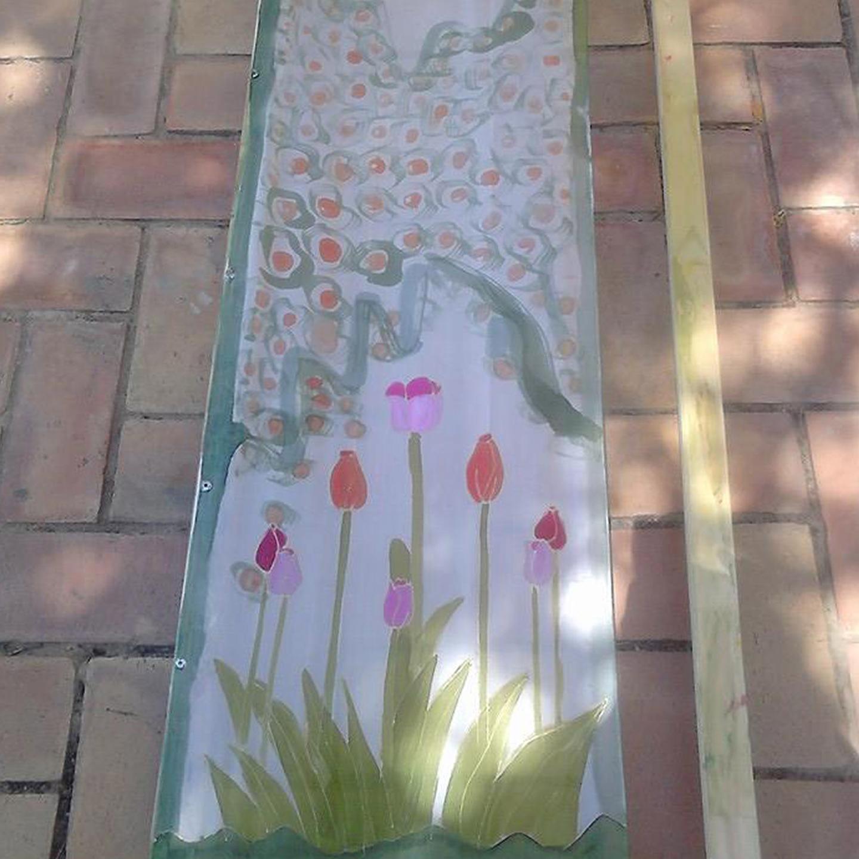 "Fular ""Tulipanes rosas"", crepe satén 180 x 45 cm"