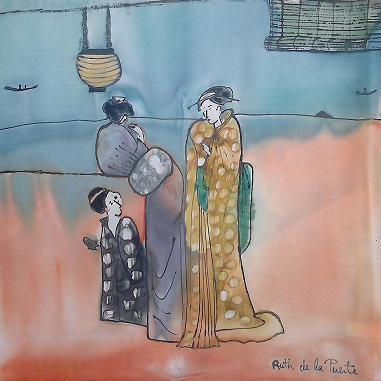 "Detalle del fular ""Japonesitas Palmira"", crepe satén 180 x 45 cm."