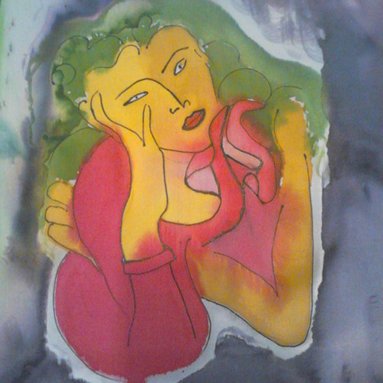 """Detalle del fular """"Rostro Matisse"""", crepe satén 180 x 45 cm"""