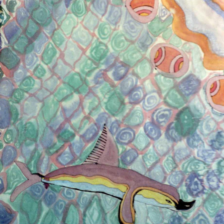 """Pañuelo """"Delfines palacio de Knossos"""" pongé 90 x 90 cm"""