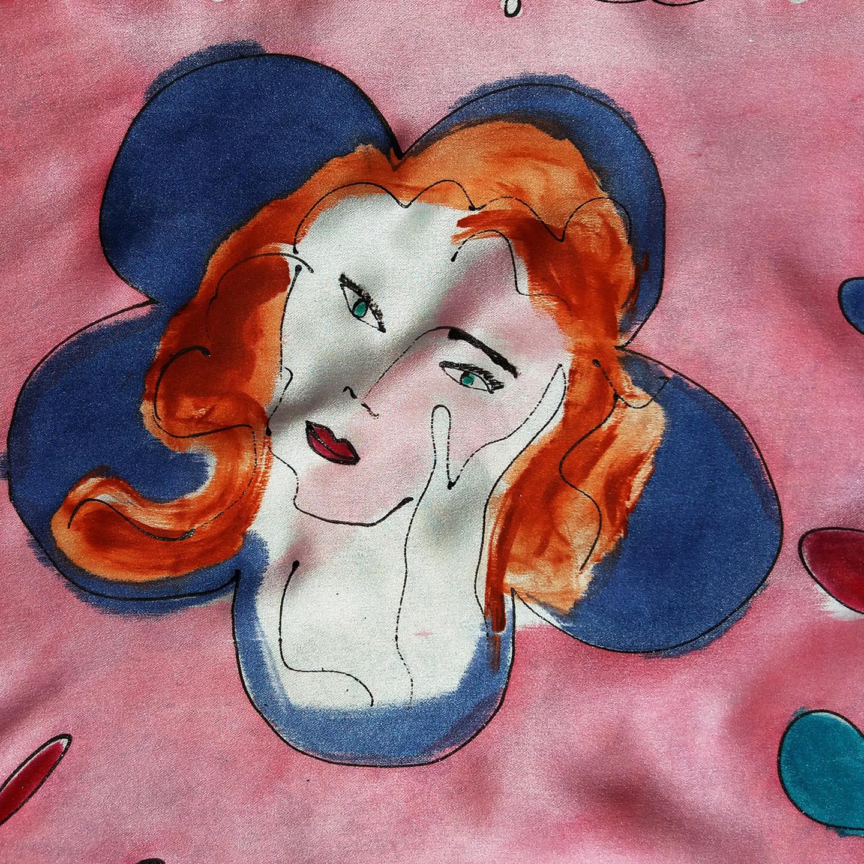"Detalle del fular ""Rostro Matisse y girafa"", crepe satén  180 x 45 cm"