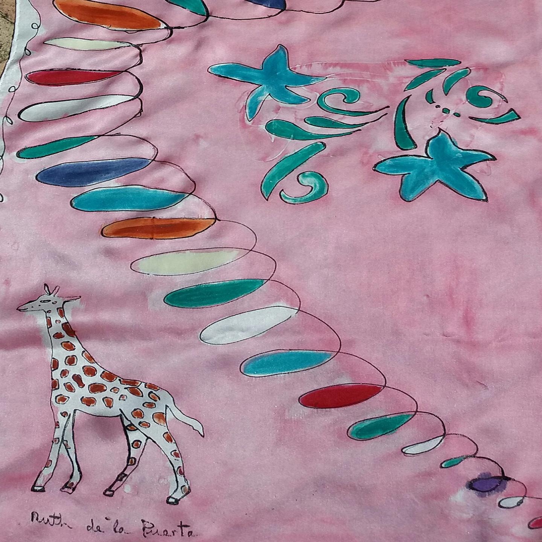 "fular ""Rostro Matisse y girafa"", crepe satén  180 x 45 cm"