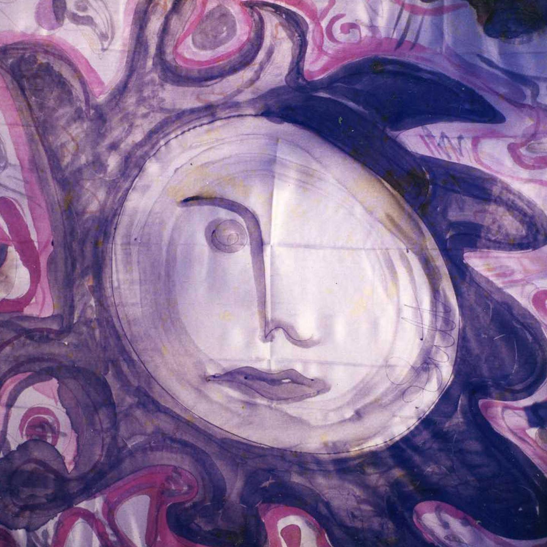 """Pañuelo """"El rostro de la luna llena"""" pongé 90 x 90 cm"""