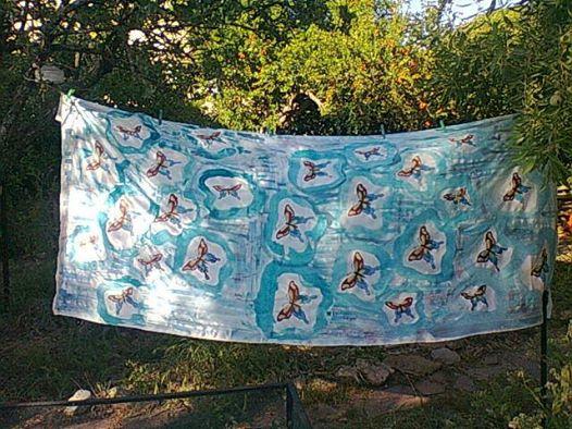 Dos metros y medio de seda pintada paar vestido de la clienta