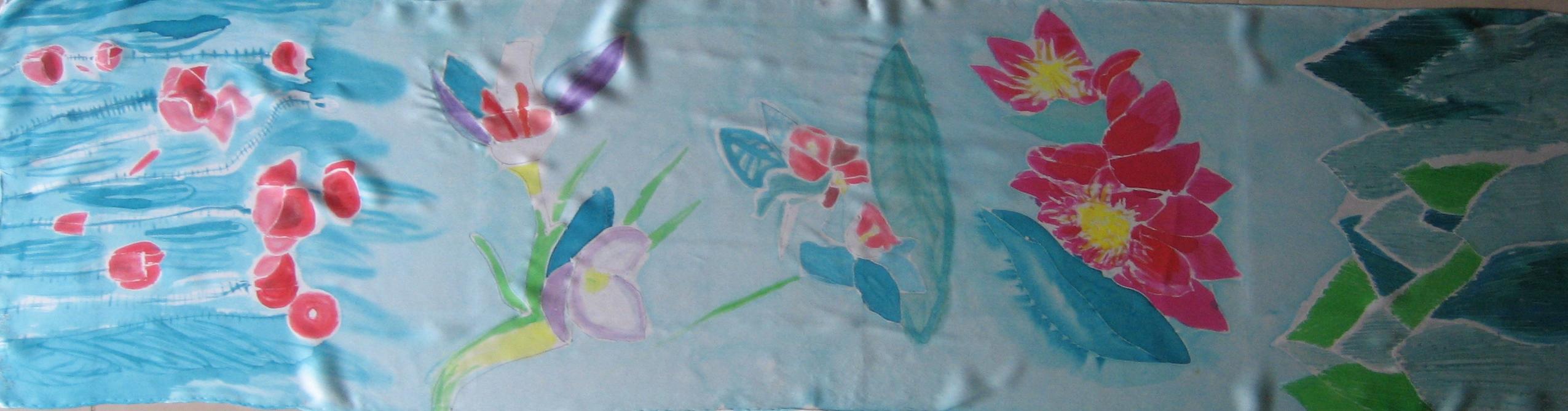 "Fular ""Mix flores Cote cabrera"", crepe satin 180 x 45 cm."