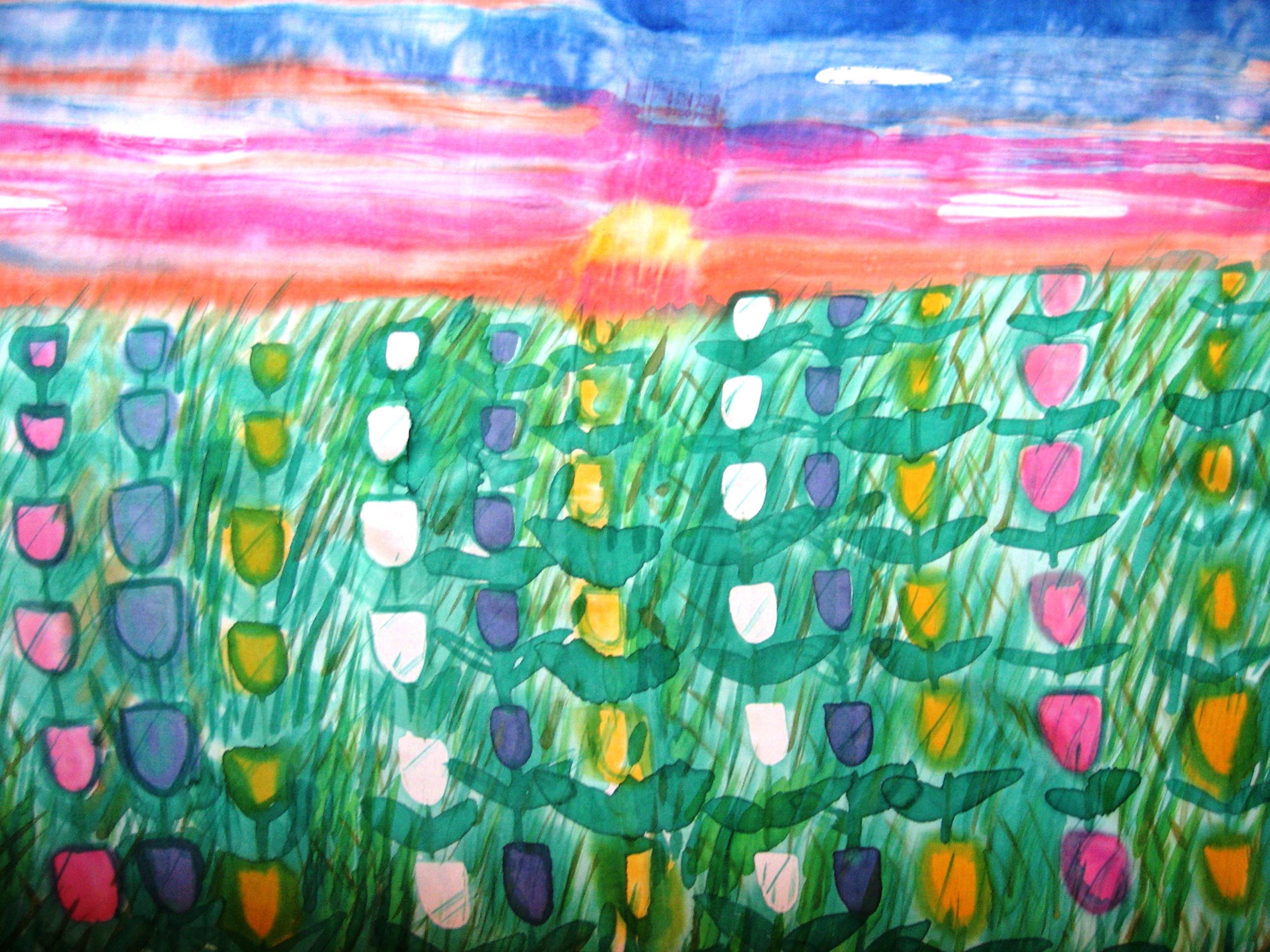 """Pareo """"Puesta de sol sobre campo de tulipanes"""", habotai 180 x 90 cm."""