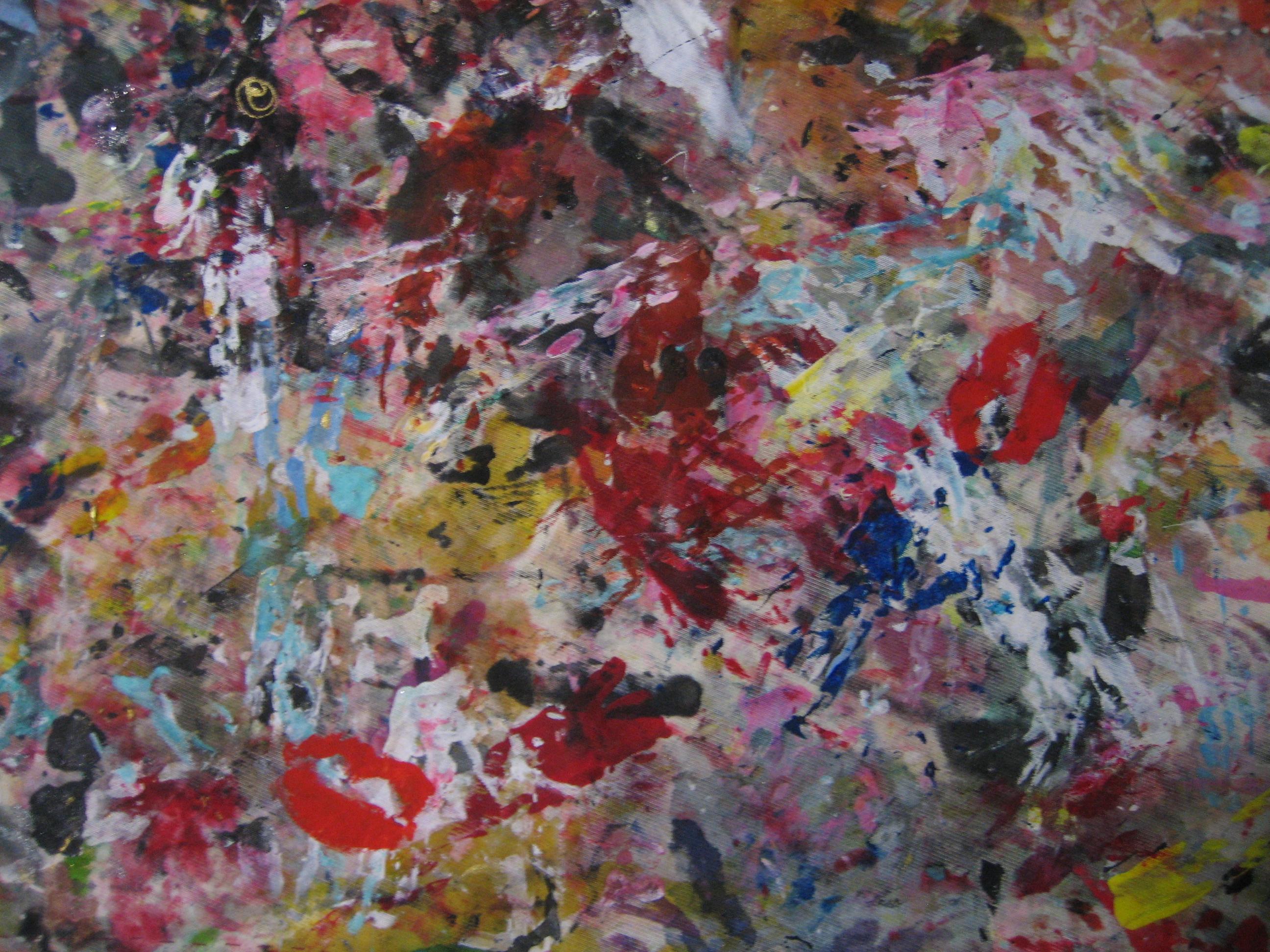 """DEtalle de la seda """"Besos sobre pintura abstracta"""""""