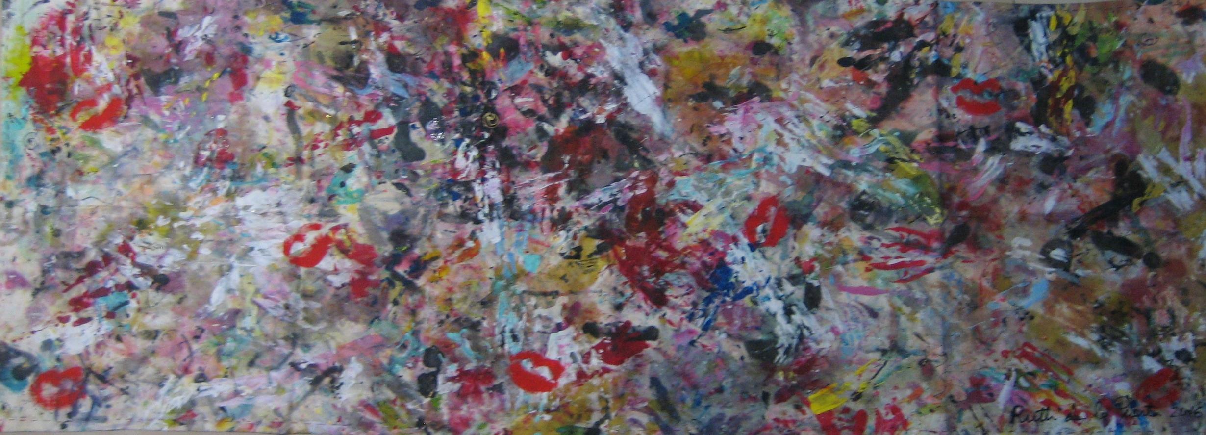 """Seda """"Besos sobre abstracción pictórica"""" . PIntura de seda y tela sobre seda natural. 97 x 35 cm"""