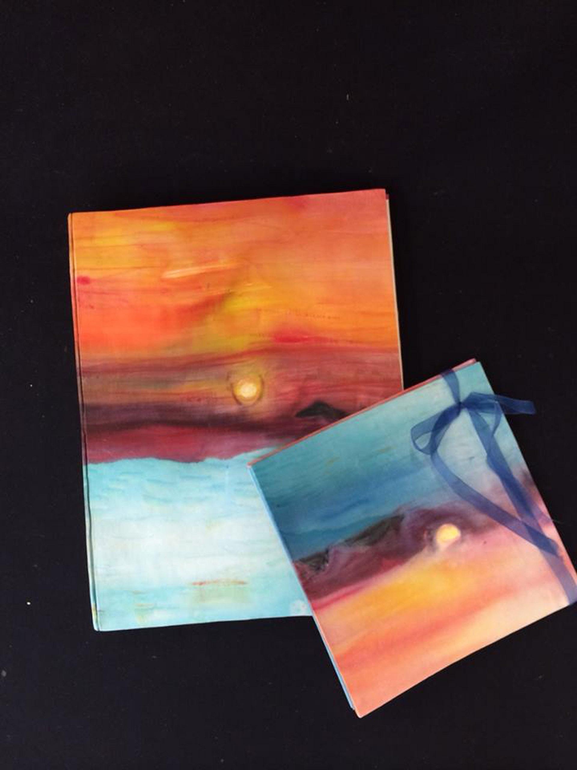 Portada de álbum de fotos (31 x 24 cm)  Puesta de sol en seda natural crepe saten  montado a mano por Marta Soliva