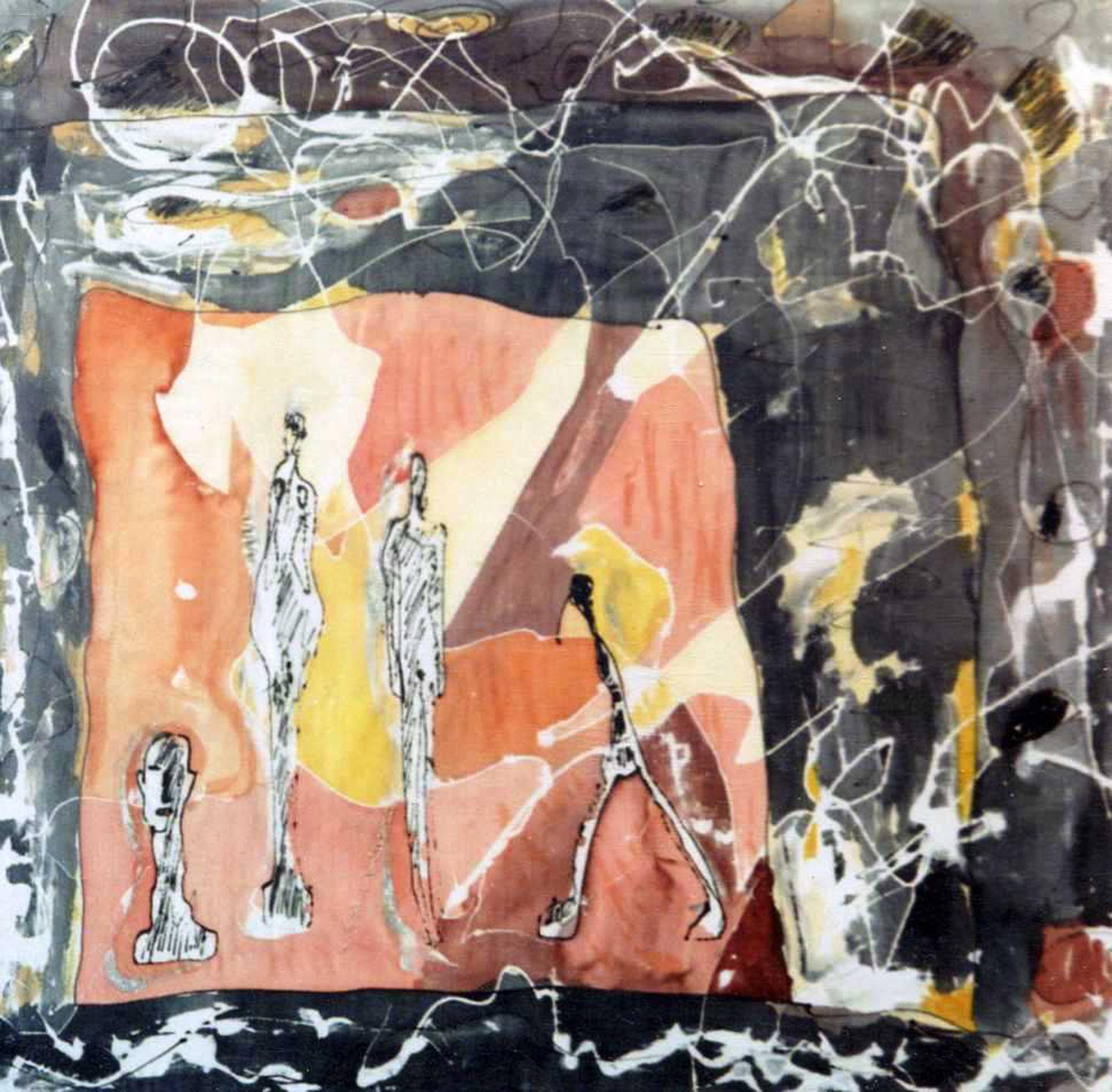 "Detalle pañuelo ""Giacometti"" pongé  50 x 50 cm"
