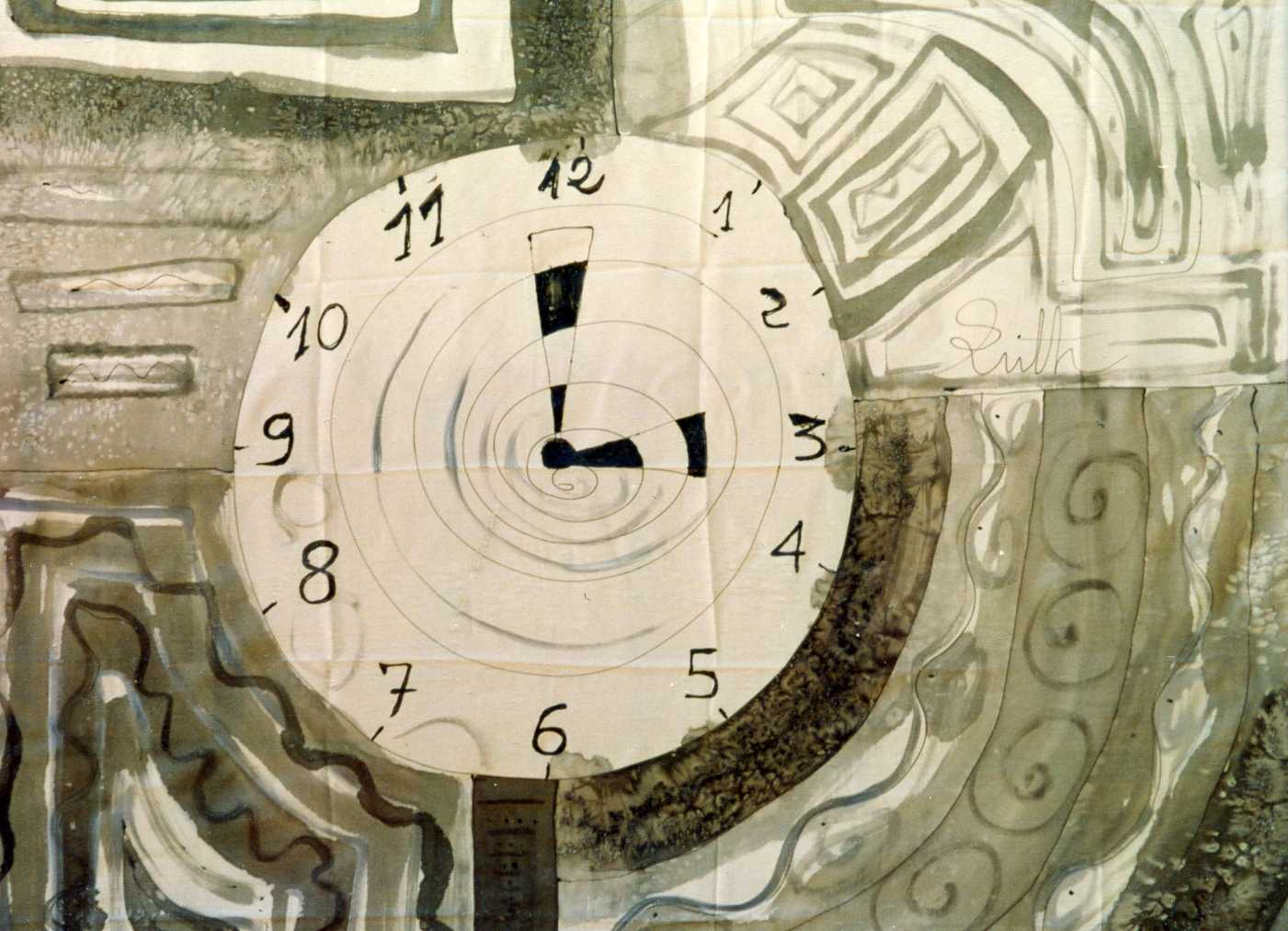 "Pañuelo ""Reloj del tiempo"" crepe satén 90 x 90 cm"