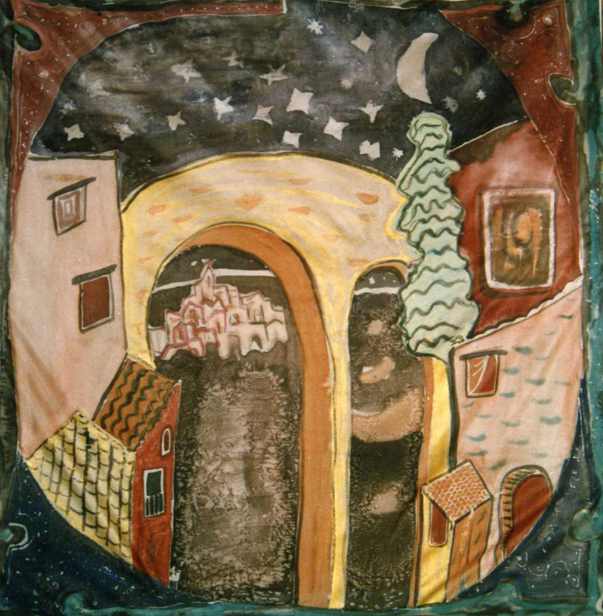 """Pañuelo """"Homenaje a Picasso escenario teatral"""" pongé 90 x 90 cm"""