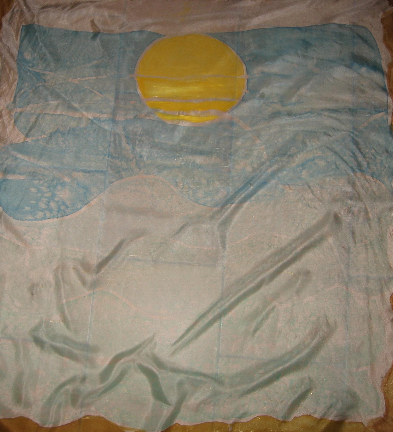 "Pañuelo ""Amanecer en el mar Mediterráneo"" , pongé 90 x 90 cm."