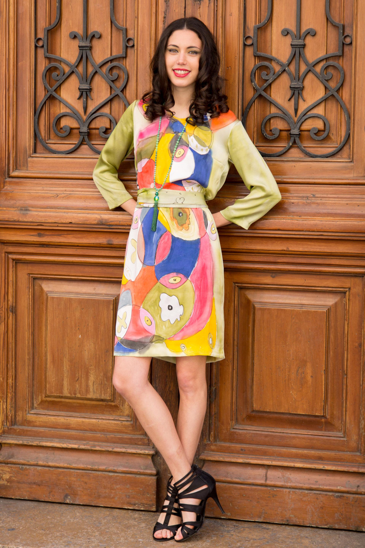 """Vestido crepe satén """"Miró 2"""""""