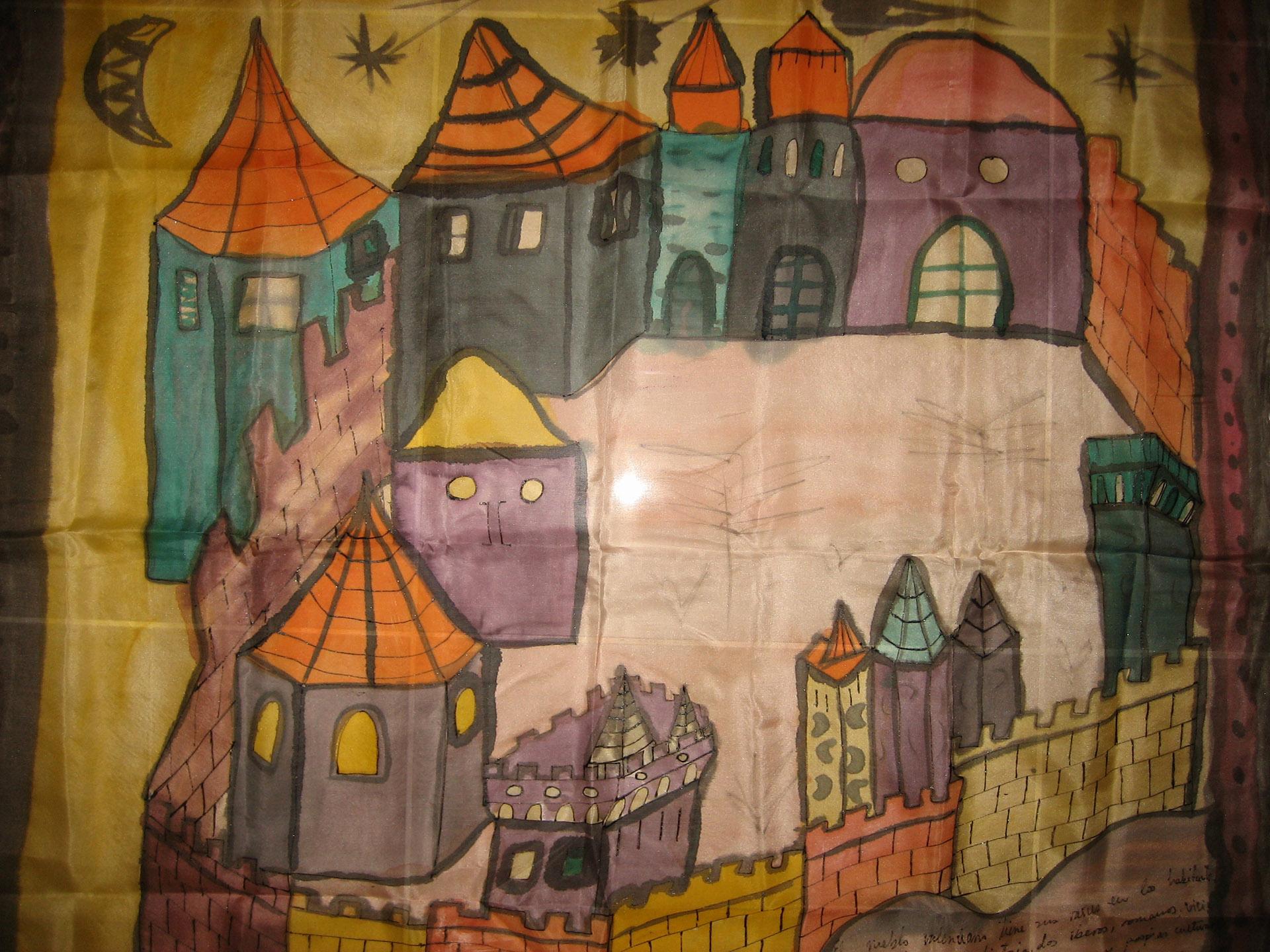 """Pañuelo """"La Valencia medieval tejados de colores"""" crepe satén 90 x 9 cm"""