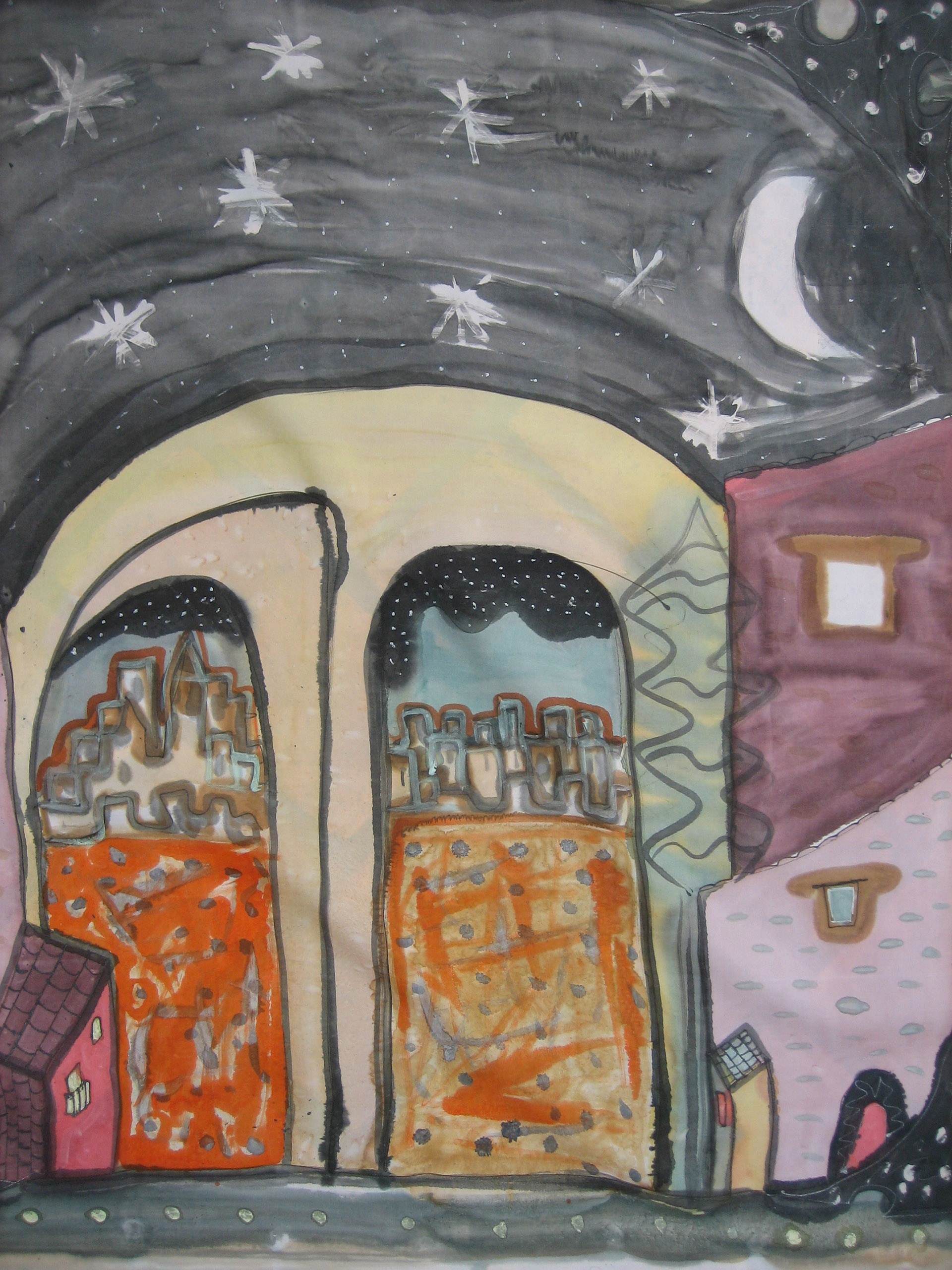 """Pañuelo """"Homenaje a Picasso. Pueblo estrellado"""" pongé 90 x 90 cm"""
