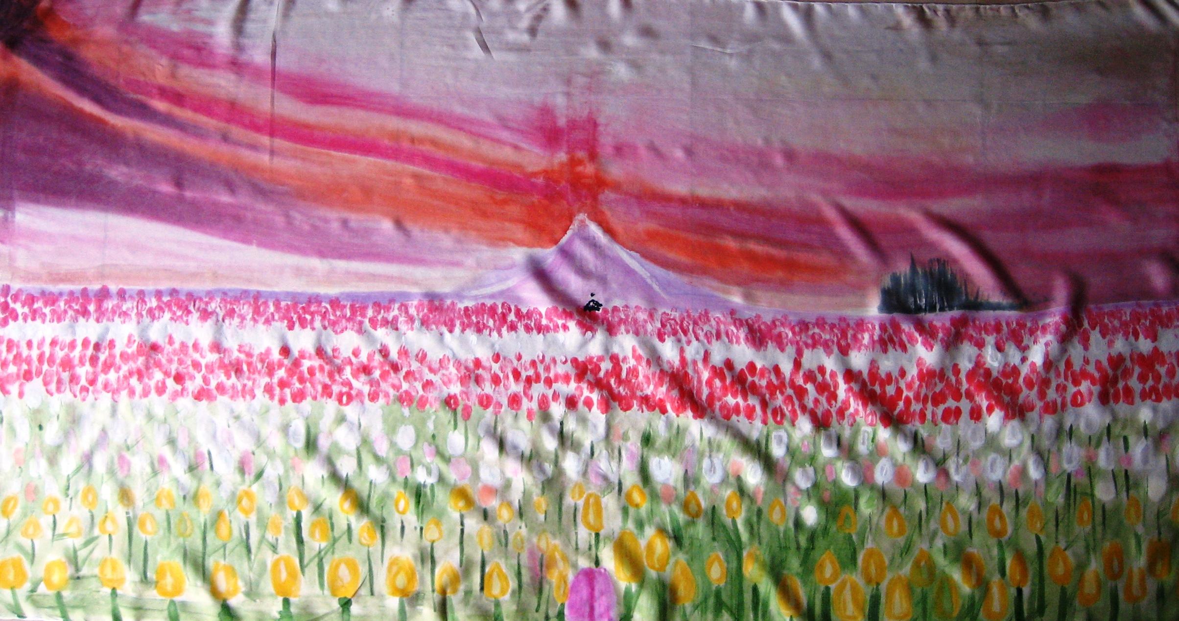 Detalle del  pareo campo de tulipanes.